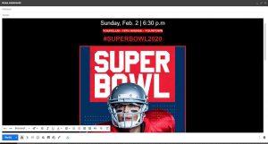 Mail z szablonem Super Bowl